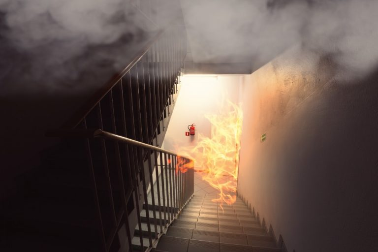 buildding exit on fire