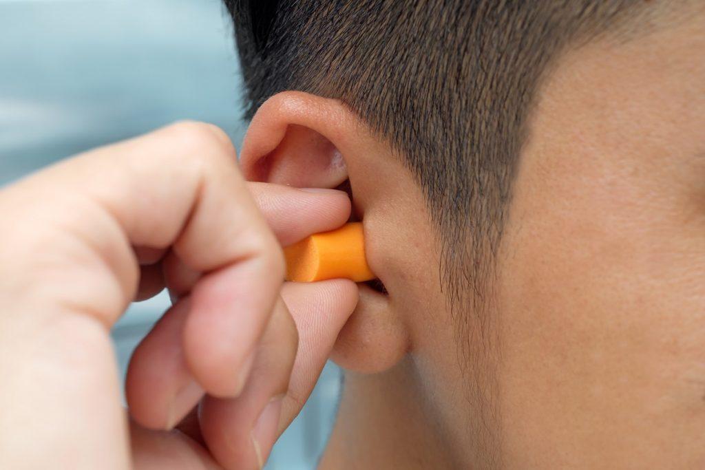 Wearing earplugs