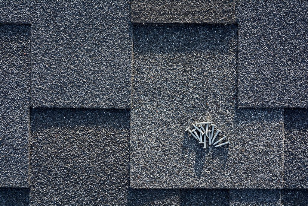 close up roof shingles