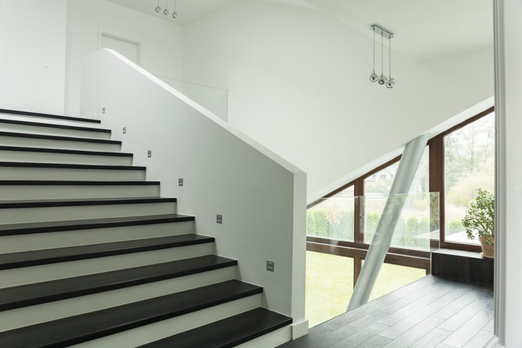 Spacious corridor with stairs