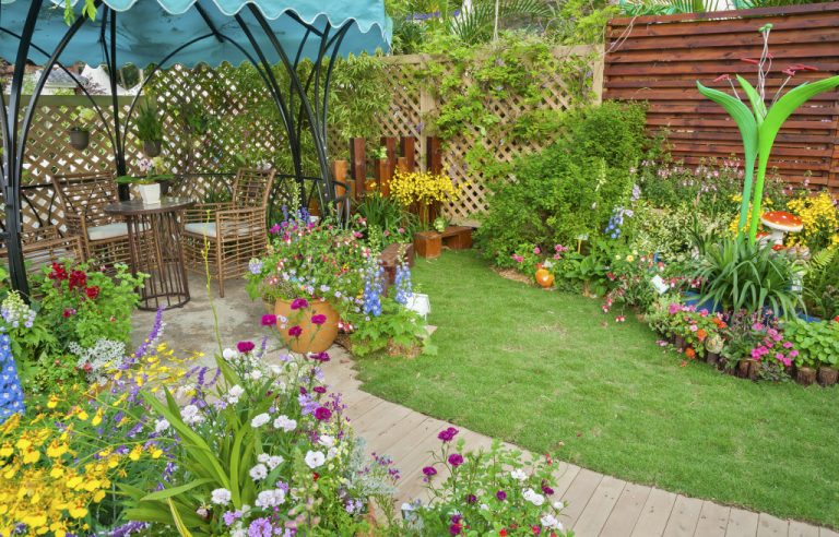 garden with flowers and seating area