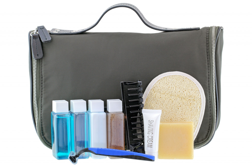cosmetic bag with toiletries