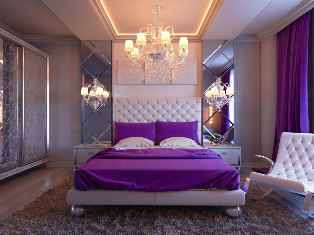 bedroom with purple accent