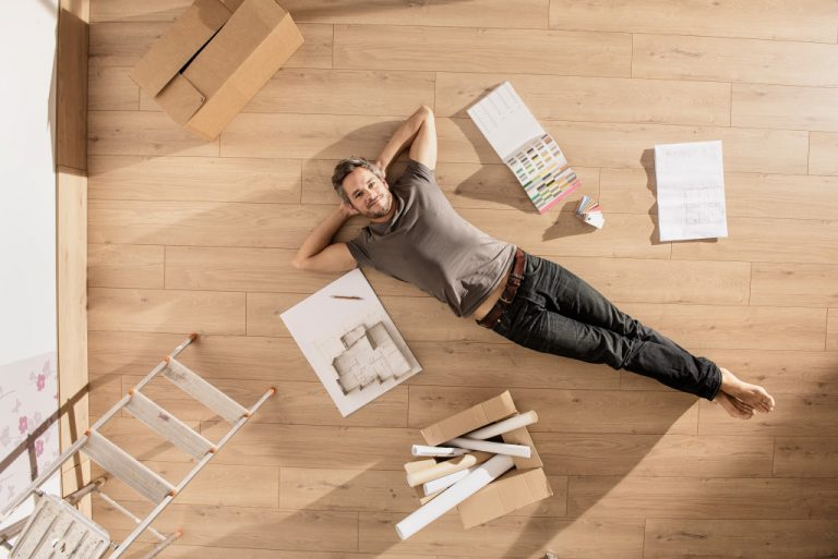 man laying on the floor